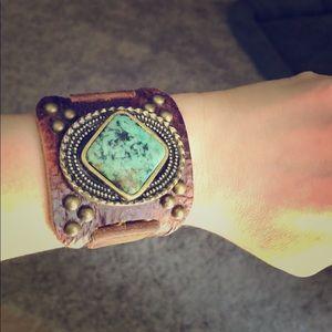 Turquoise leather bracelet